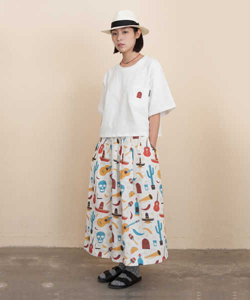 COCO All-Over Print Linen Long Skirt