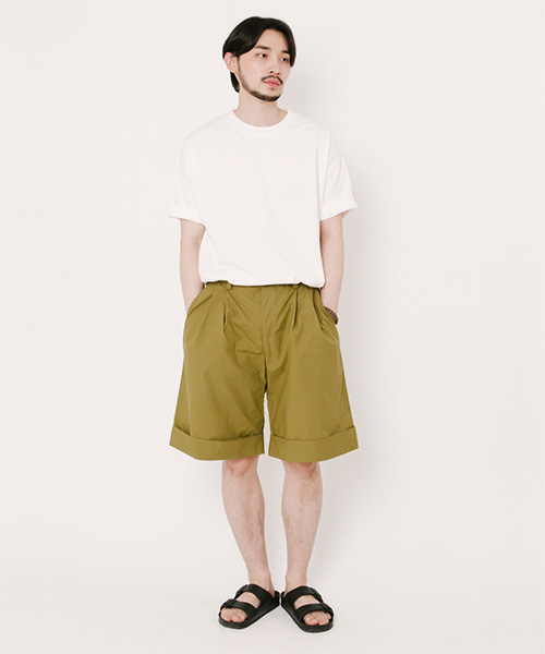 Tommy Turn Up Shorts Olive Green