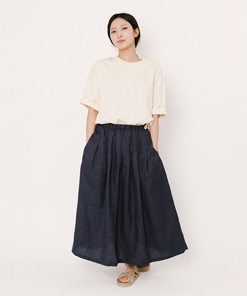 Mia Light Linen Long Skirt Navy