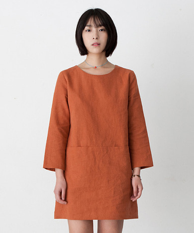 Emily Linen Dress Burnt Orange