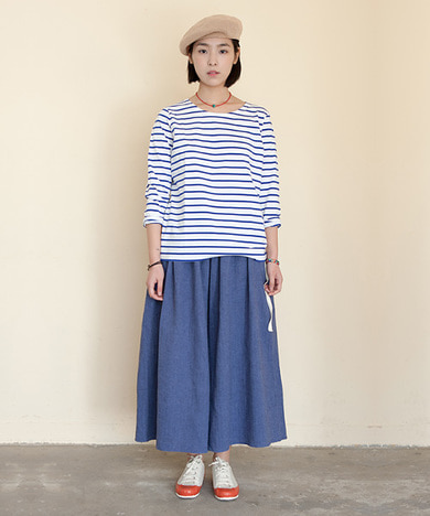 Joy Wide Wide Linen Pants Herringbone Blue