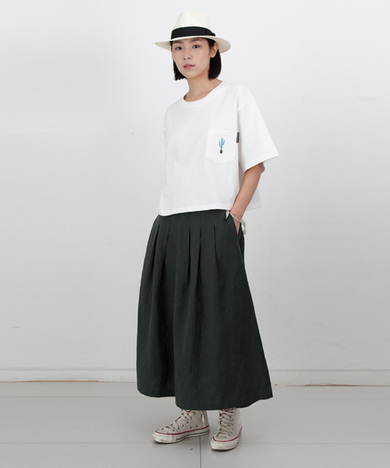 Mia Linen Long Skirt Hunter Green