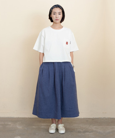 Mia Linen Long Skirt Herringbone Blue