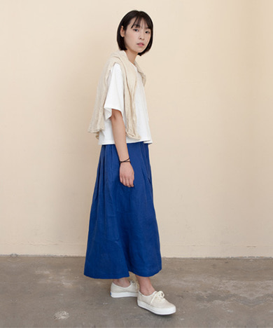 Mia Linen Long Skirt Classic Blue