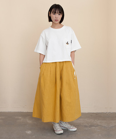 Mia Linen Long Skirt Mustard