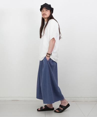 Joy Wide Wide Linen Tall Pants Herringbone Blue