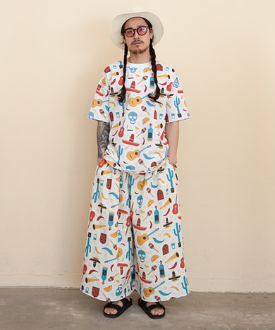COCO All-Over Print Wide Wide Linen Tall Pants