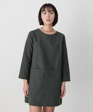 Emily Linen Dress Hunter Green