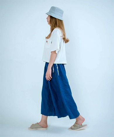 Joy Wide Wide Linen Pants Classic Blue