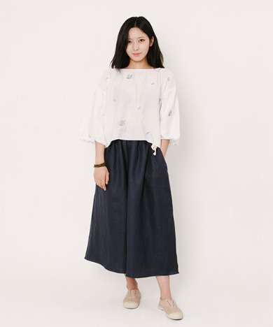 Joy Wide Wide Light Linen Pants Navy
