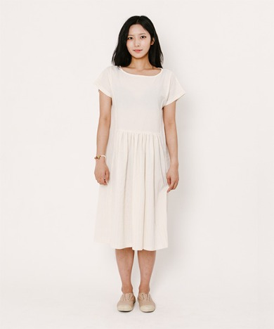 Kate Dobby Pigment Dress Light Beige