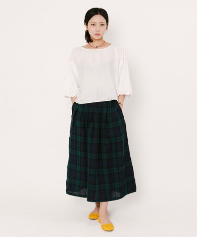 Mia Light Linen Long Skirt Blackwatch Tartan
