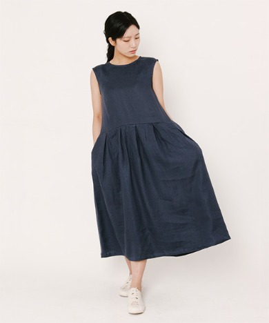 Lala Linen Dress Navy