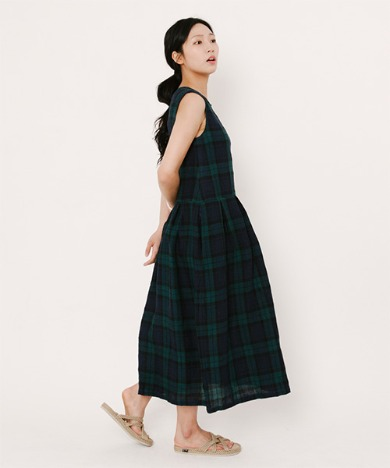 Lala Linen Dress Blackwatch Tartan