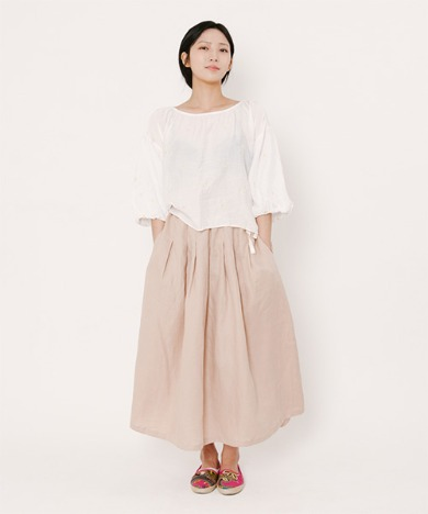 Mia Light Linen Long Skirt Beige