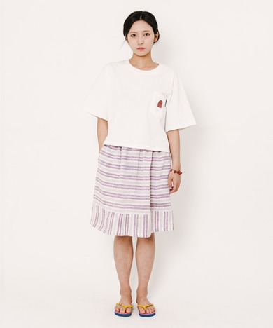 Lisa Stripe Skirt Red