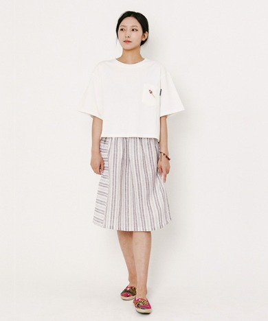 Lisa Vertical Stripe Skirt Brown