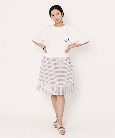 Lisa Stripe Skirt Brown